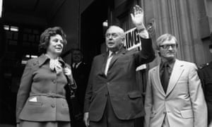 PM Harold Wilson at the referendum polling station in London, June 1975.