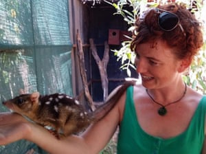 Laura Jean McKay and quoll Ginger Meggs.