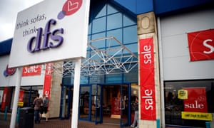 A DFS sofa store, Nottingham, during a sale.