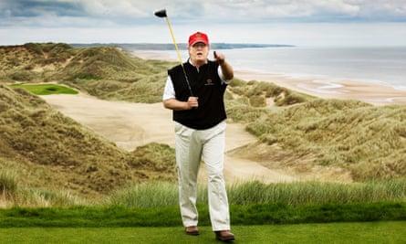 Donald Trump seen at Aberdeenshire golf course in Scotland.