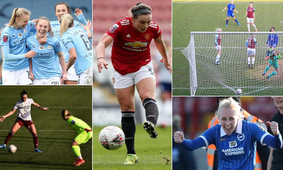 (Clockwise from top left) Manchester City's Keira Walsh celebrates her winner against Everton; Kirsty Hanson fires in Manchester United's opener; Sam Kerr scores Chelsea's first; Brighton's Inessa Kaagman celebrates; Caitlin Foord scores her second past Birmingham's Hannah Hampton.
