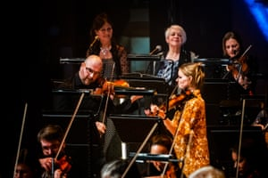 Trailblazing spirit … Grit Orchestra players watched in the back row by Karen Matheson (on left) and Liz Lochhead.