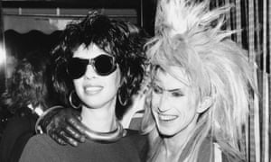 Magenta Devine with the singer Martin Degville at Stringfellows, London, in the late 1980s.