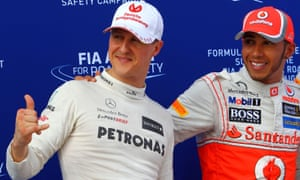 Mercedes' Michael Schumacher with Lewis Hamilton after qualifying for the 2012 Grand Prix of Malaysia