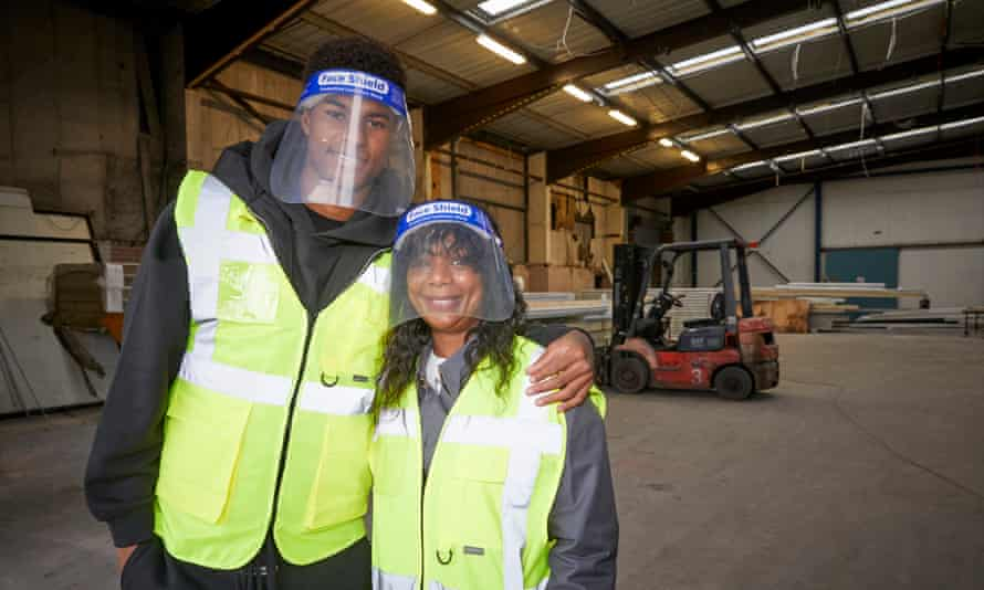 Marcus Rashford at FareShare, Greater Manchester, with his mother. The charity network is naming a new warehouse in her honour.