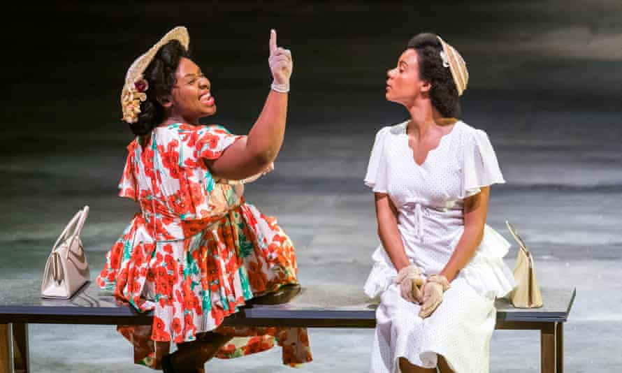 Shiloh Coke as Celia and Leah Harvey as Hortense in Small Island at the Olivier, London.