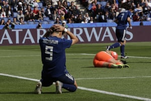 Japan's Yuika Sugasawa gestures after missing a chance against Argentina goalkeeper Vanina Correa.