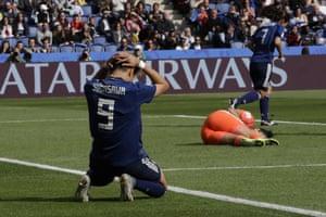 Japan's Yuika Sugasawa gestures after missing a chance against Argentina goalkeeper Vanina Correa.
