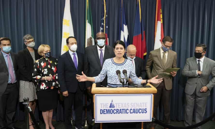 Nine Texas Democratic senators, including Carol Alvarado, who supported their House quorum-busting colleagues in Washington, DC return to the Texas Capitol.