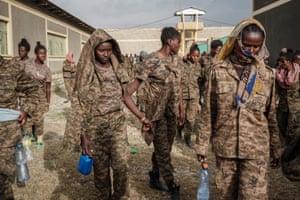Captive Ethiopian soldiers arrive at Mekelle Rehabilitation Centre.