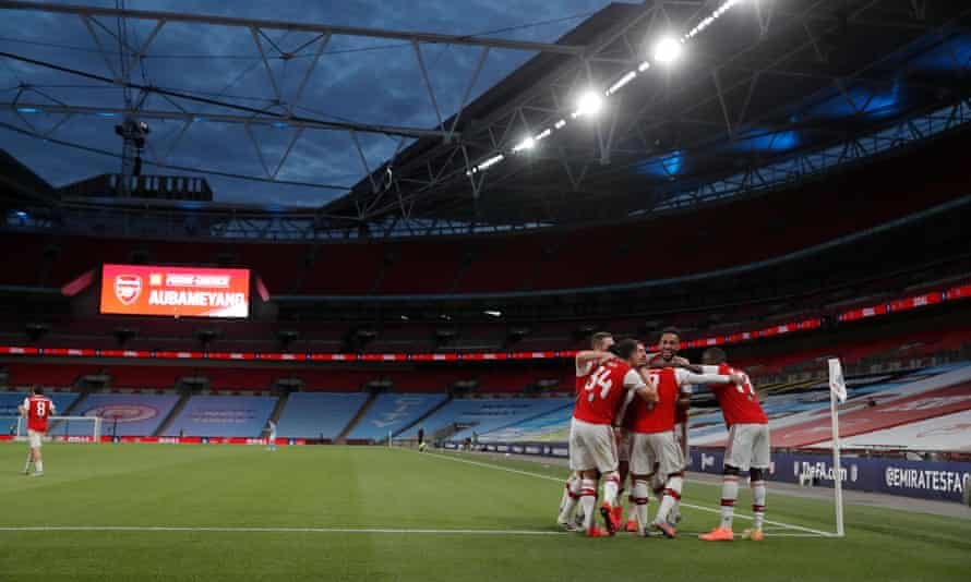Arsenal's Pierre-Emerick Aubameyang with teammates after scoring during the Arsenal v Manchester City FA Cup semi-final at Wembley Stadium, 18 July 2020.