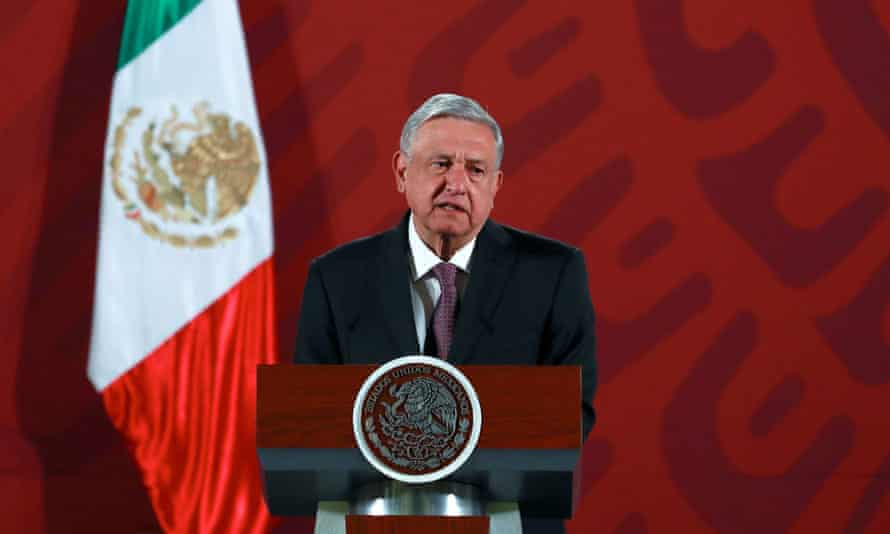 Andres Manuel Lopez Obrador attends a news conference at the National Palace in Mexico City, Mexico.
