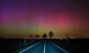 Lights observed in the night sky on a country road near Lietzen in Maerkisch-Oderland, Germany