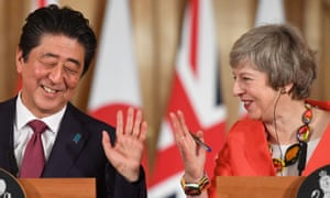 Theresa May with Japanese prime minister Shinzo Abe holding their press conference in 10 Downing Street.