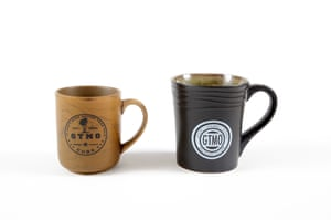 You can buy coffee mugs in varying sizes, but all in an army green hue