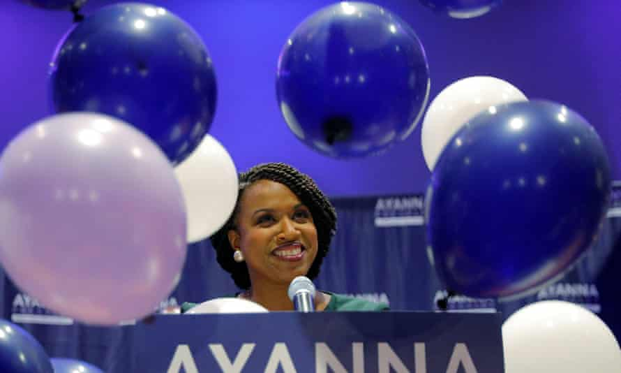 Balloons fall around Democratic candidate for U.S House of Representatives Ayanna Pressley at her primary election night rally in Boston, Massachusetts, U.S., September 4, 2018.