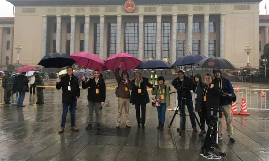 Carrie Grace on assignment in Tiananmen Square