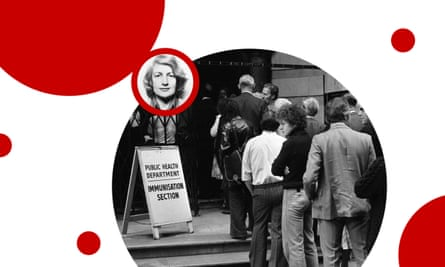 Smallpox patient Janet Parker; and members of public queuing to receive smallpox vaccination in Birmingham in August 1978.