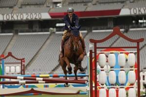 Sergio Villamayor of Argentina competes riding show jumping of the men's modern pentathlon.
