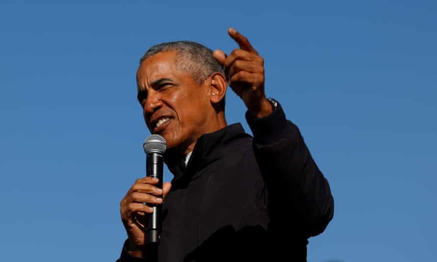Former US president Barack Obama speaking in Michigan in October 2020.