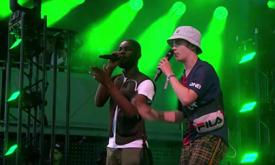 Alex Mann (right) with Dave onstage at Glastonbury 2019.