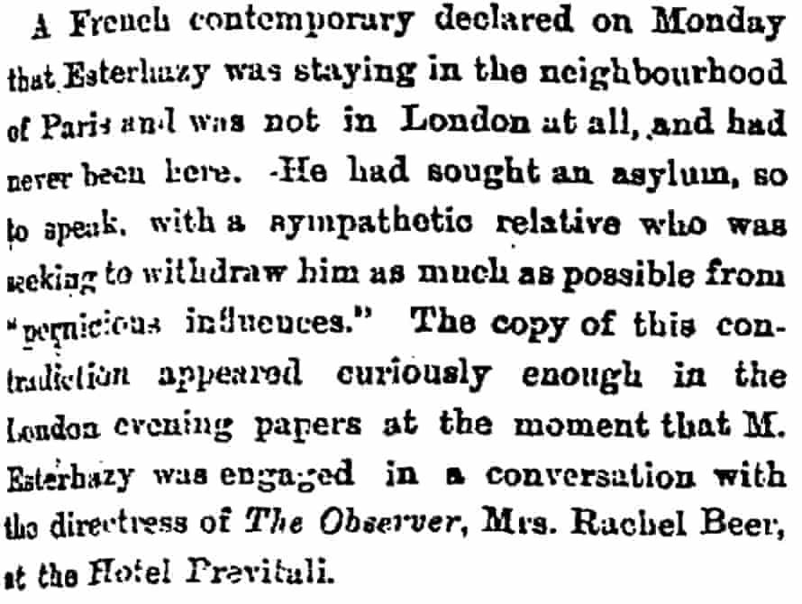 The Observer 25 September 1898 extract: Rachel Beer meets Esterhazy.
