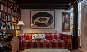 Lounge of textile designer Pauline Caulfield's home, with art by Patrick Caulfield and Howard Hodgkin