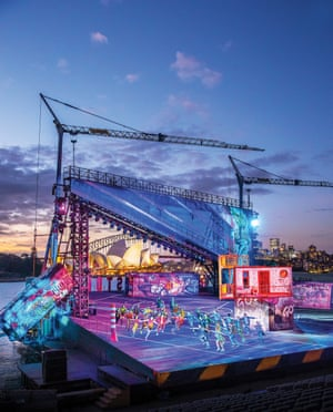 The stage for Sydney Harbour production looks over the Opera House.