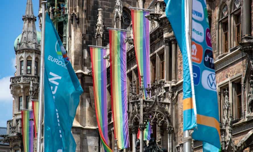 Rainbow flags outside Munich city hall