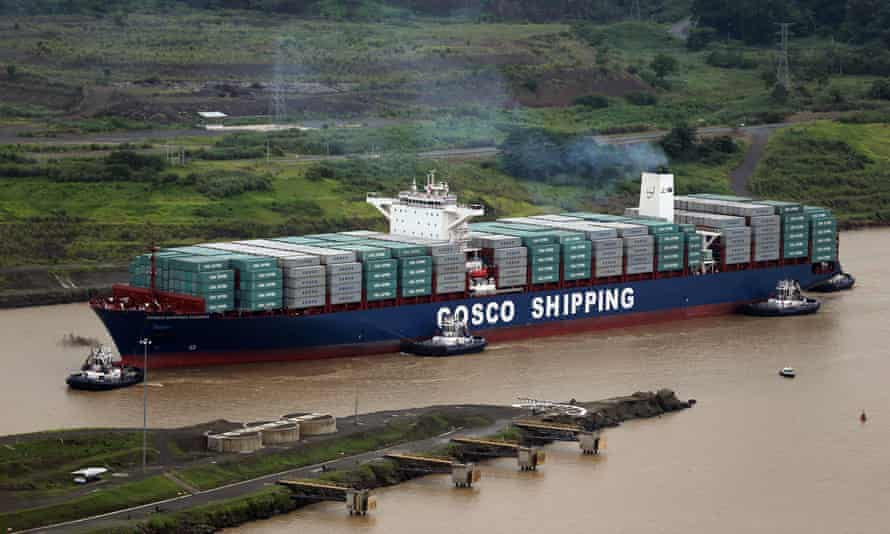 A cargo ship heads towards the new Cocoli locks, part of the new Panama Canal expansion project. Concerns have been raised over the design of the new canal.