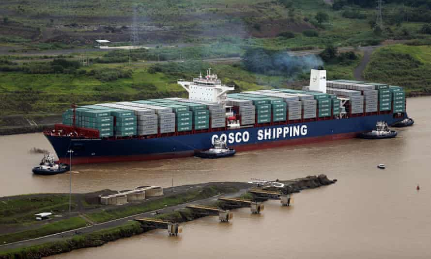 The Cosco Shipping Panama cargo ship prepares to cruise past the old Pedro Miguel locks, as it heads towards the new Cocolí locks, on Sunday.