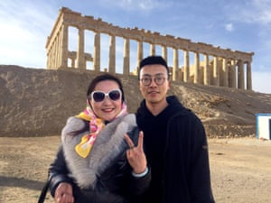 Chinese tourists visiting the replica of the Parthenon near Lanzhou New Area.