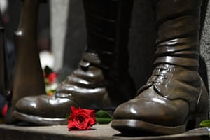 A red rose on the Cenotaph during a Remembrance Day service in Sydney, Australia
