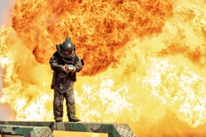 Nanning, China. A student takes part in explosives disposal training