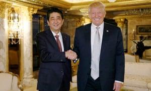 Shinzo Abe meets Donald Trump.
