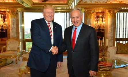 US Republican presidential candidate Donald Trump meets Israeli prime minister Benjamin Netanyahu at Trump Tower in New York on Sunday.