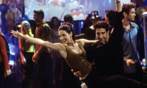 Courteney Cox as Monica Geller and David Schwimmer as Ross Geller in The One With the Routine.