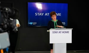 Nicola Sturgeon speaking by Scotland's continued 'stay at home' slogan on 25 May