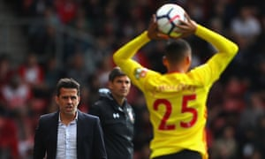 Watford's manager, Marco Silva, watches as José Holebas takes a during the match against Southampton.