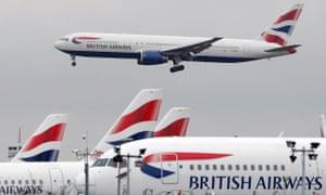 A British Airways Boeing 767 passenger plane comes into land at Heathrow