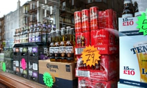 bottles and cans of alcohol in a Scottish off licence
