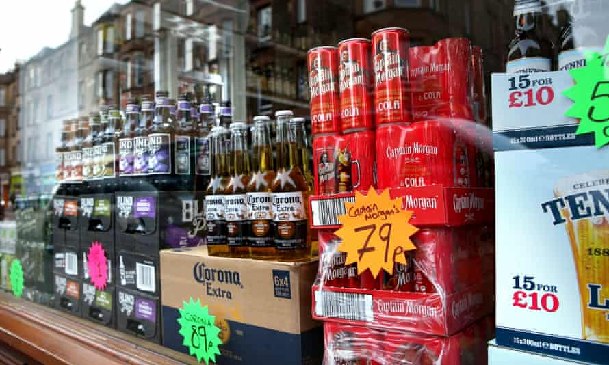 Cheap alcohol for sale in an Edinburgh before minimum unit pricing was introduced in Scotland.