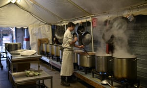 A kitchen at a refugee community centre in Calais.