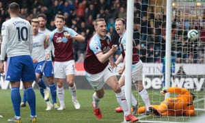 Chris Wood celebrates after scoring the opening goal for Burnley against Cardiff.