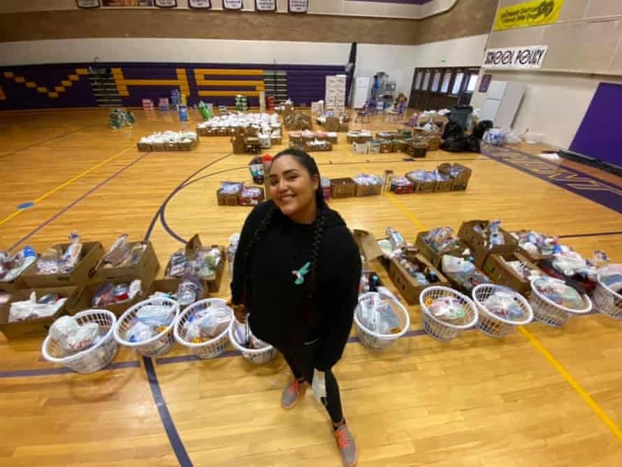 Shandiin Herrera, the relief fund's call centre coordinator and Utah team leader at the distribution centre in Monument Valley high school, Oljato, Utah.