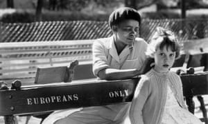 Peter Magubane girl on the bench with black maid apartheid South Africa