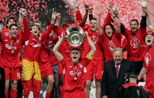 Steven Gerrard lifts the European Cup after Liverpool's win in 2005.