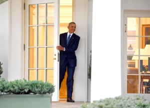 US President Barack Obama departs the Oval Office for the last time as president