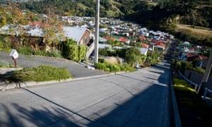 The slope at Baldwin Street, Dunedin, New Zealand.