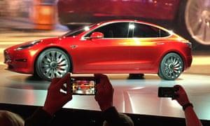 Tesla Motors unveils the new lower-priced Model 3 sedan in 2016.
